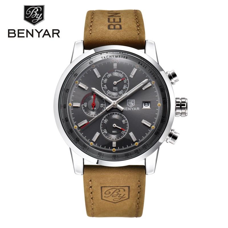 benyar Серебристо-серый 2017 мужские часы известные лучшие роскошные бренды кварцевые часы мужские наручные часы мужской наручные часы