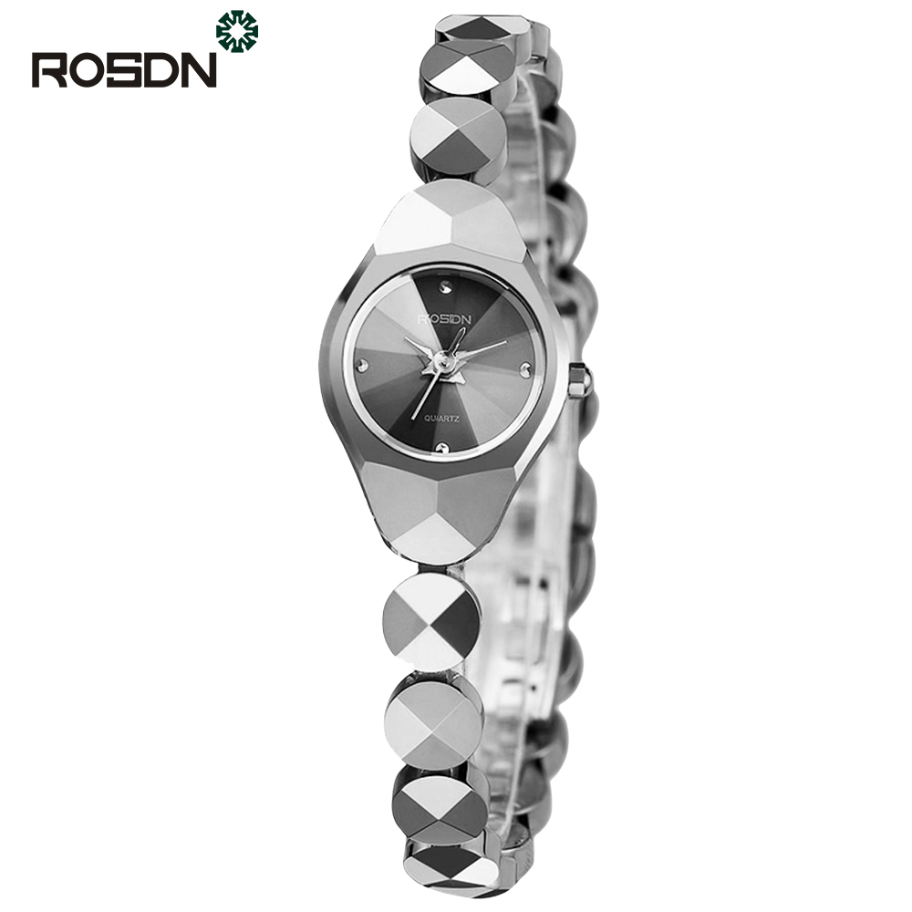 ROSDN Серебристый цвет women watches top brand luxury fashion slim red leather strap roman numerals dial quartz wrist watch ladies clock montre femme