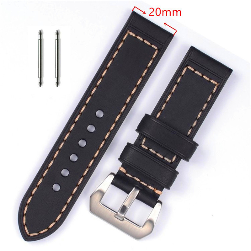XIUMEI 20mm top layer genuine leather watchband 22 23 24mm for couturier t035 replacement watch band steel butterfly clasp wrist strap black