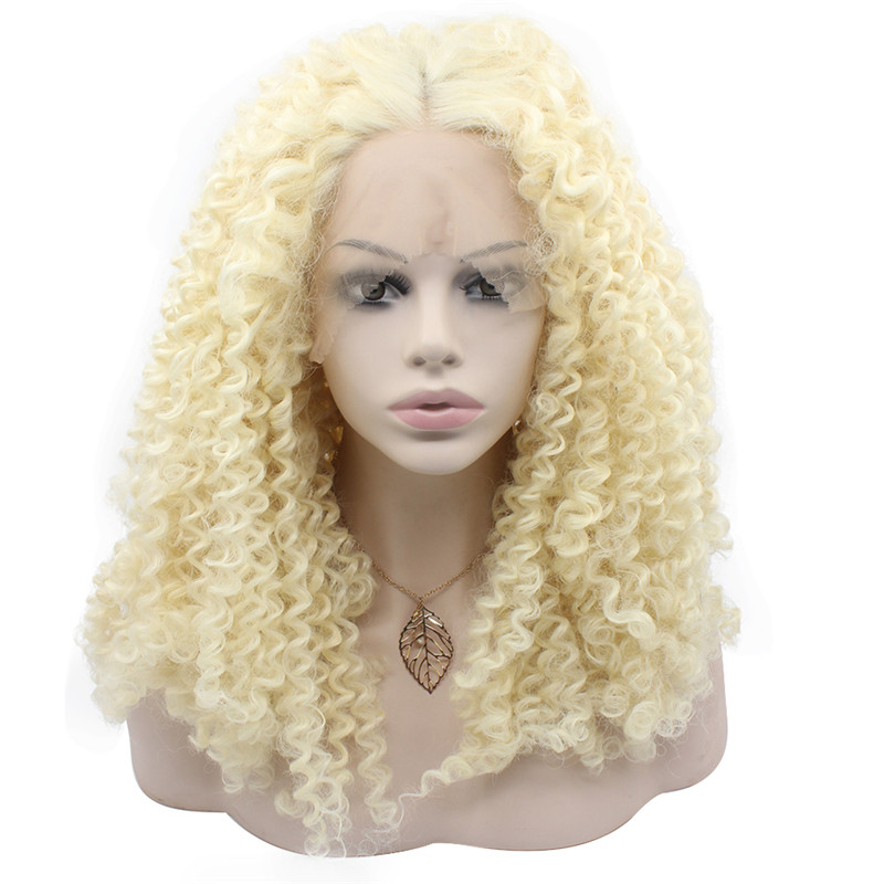 iwona 20 дюймов synthetic lace front long blonde curly wig for women beautiful looking high quality natural blonde wigs cheap heat resistant