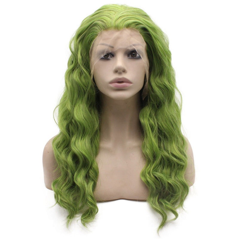 Long Wavy Green Quality Synthetic Lace Front Wig Party front
