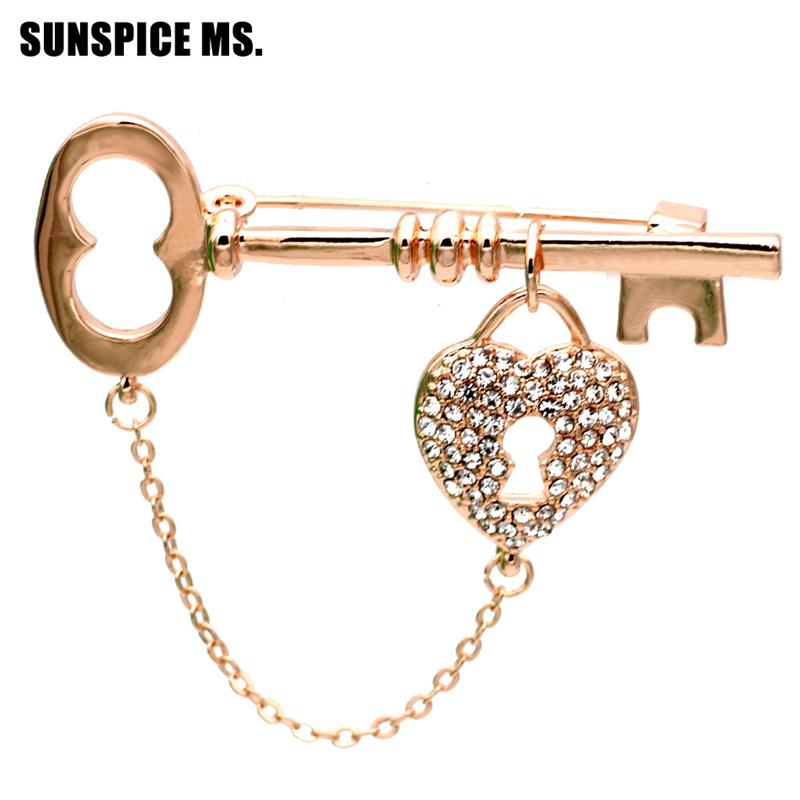 SUNSPICE MS Золото классический модные женские брелки для ключей стильные булавки для брошюр для девочек корсаж для ювелирных изделий hijab pin для аксессуаров дл