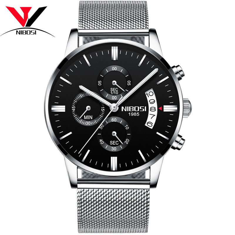 NIBOSI Black Dial Steel Belt Male Watch relogio masculino large dial watch men top brand luxury wristwatch male clock quartz watch mens sports watches gift reloj hombre