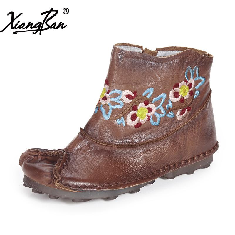xiangban Коричневый цвет 65 ярдов xiangban женская обувь ручной работы кожаные повседневные ботинки женские туфли на плоской подошве сапоги и ботинки для девочек бо