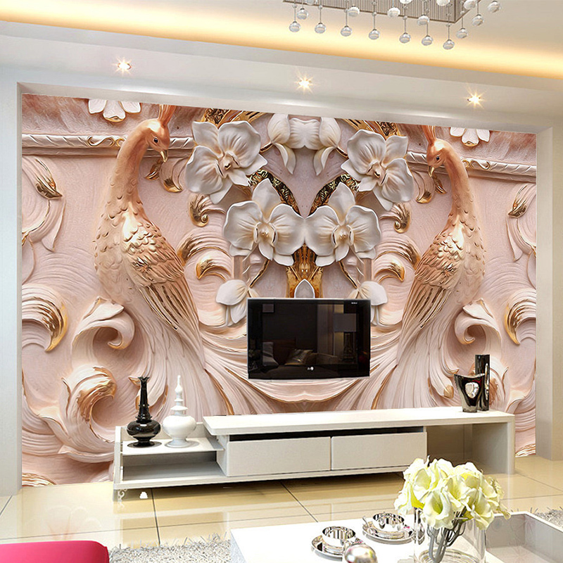 Colomac Смешанный цвет beibehang 3d relief wallpaper modern pink sky blue wallpaper bedroom living room tv background wall wallpaper for walls 3 d