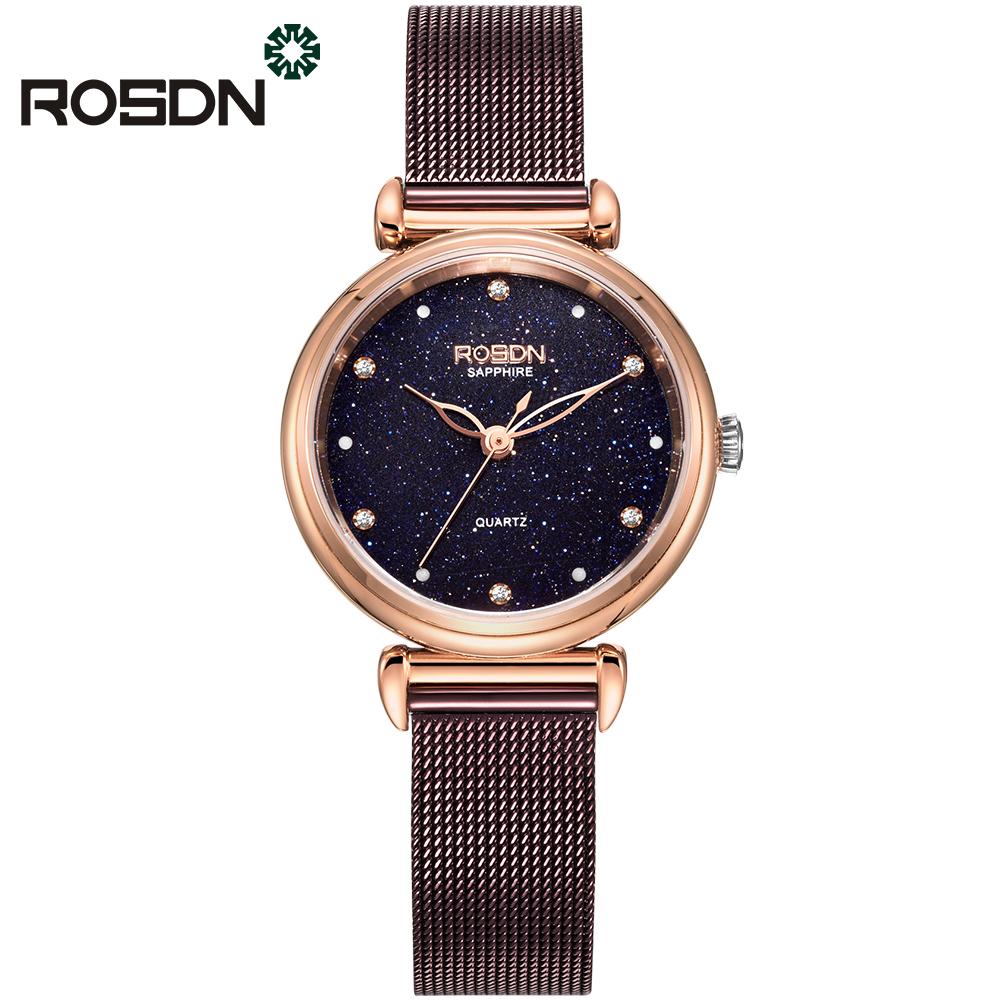 ROSDN Пурпурный роскошные золотые часы женские кварцевые стальные наручные часы повседневные женские наручные часы женские часы