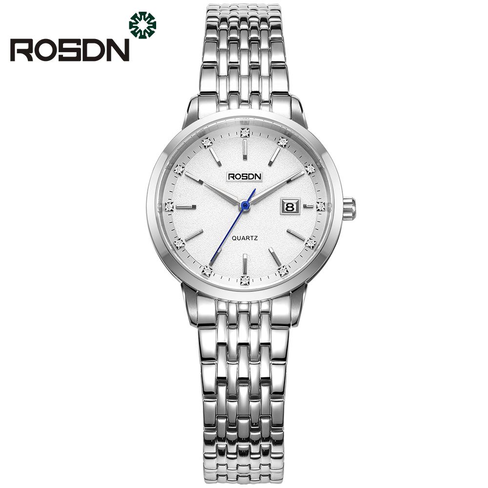 ROSDN Белый циферблат Стальной пояс Женские часы женские наручные