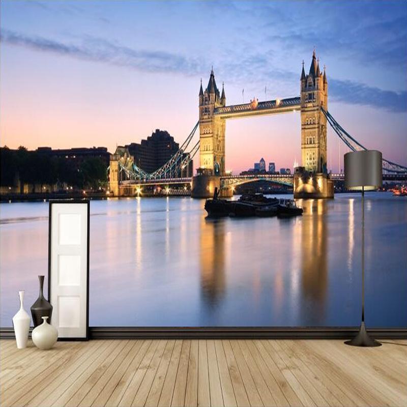 Colomac Смешанный цвет подгонянные 3d photo mural wallpaper европейский ретро лонг биг бен лондонский мост стена ресторан фонарь настенная роспись