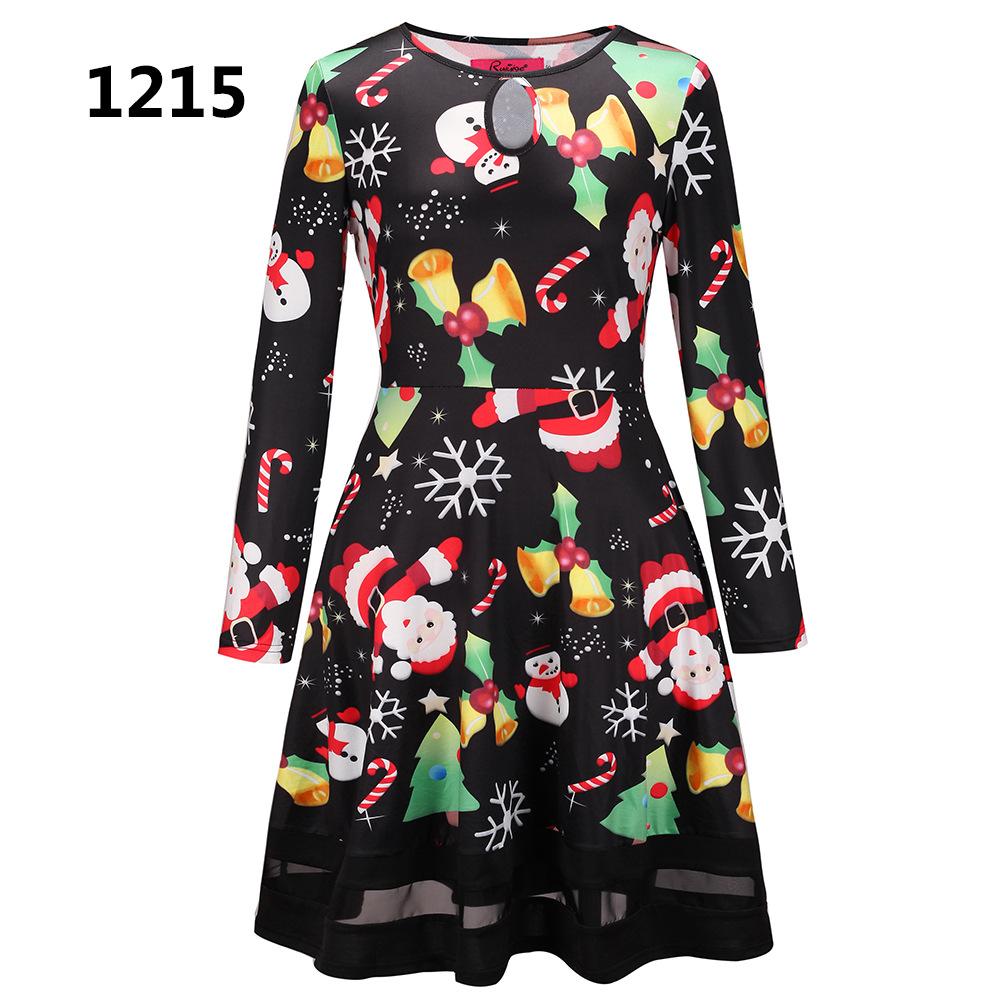 ZOGAA 1215 Номер S women s christmas snowman elk prints long sleeved dresses