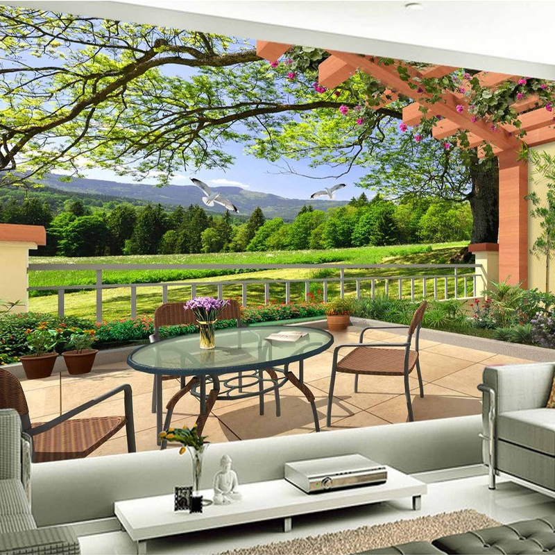 Colomac Смешанный цвет фото обои современный отдых сад чайный ресторан 3d настенные обои гостиная телевизор диван фон стена картина home decor fresco