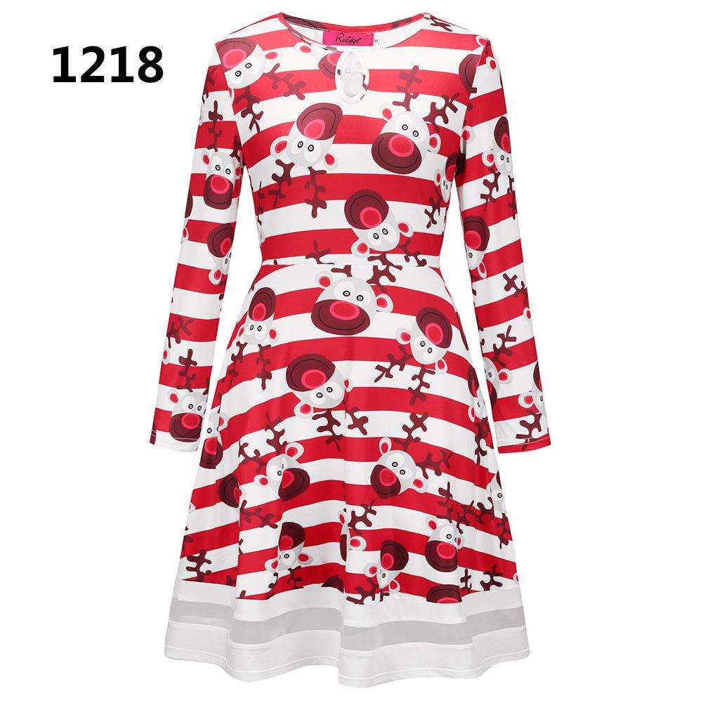 ZOGAA 1218 Номер S women s christmas snowman elk prints long sleeved dresses