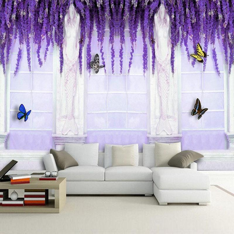 Colomac Смешанный цвет Фиолетовый цветок Vine Butterfly Европейский стиль ТВ фон Стены картины