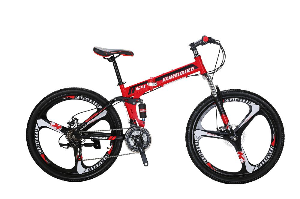 EUROBIKE красный Стали behee 26 дюймы 21 скорость складной горный велосипед средняя ось двойной дисковый тормоз