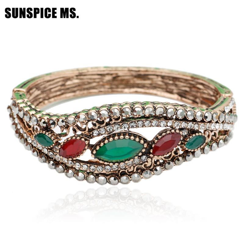 SUNSPICE MS Зеленый дизайн панков турецкий браслеты для глаз для мужчин женщины новая мода браслет женский сова кожаный браслет камень