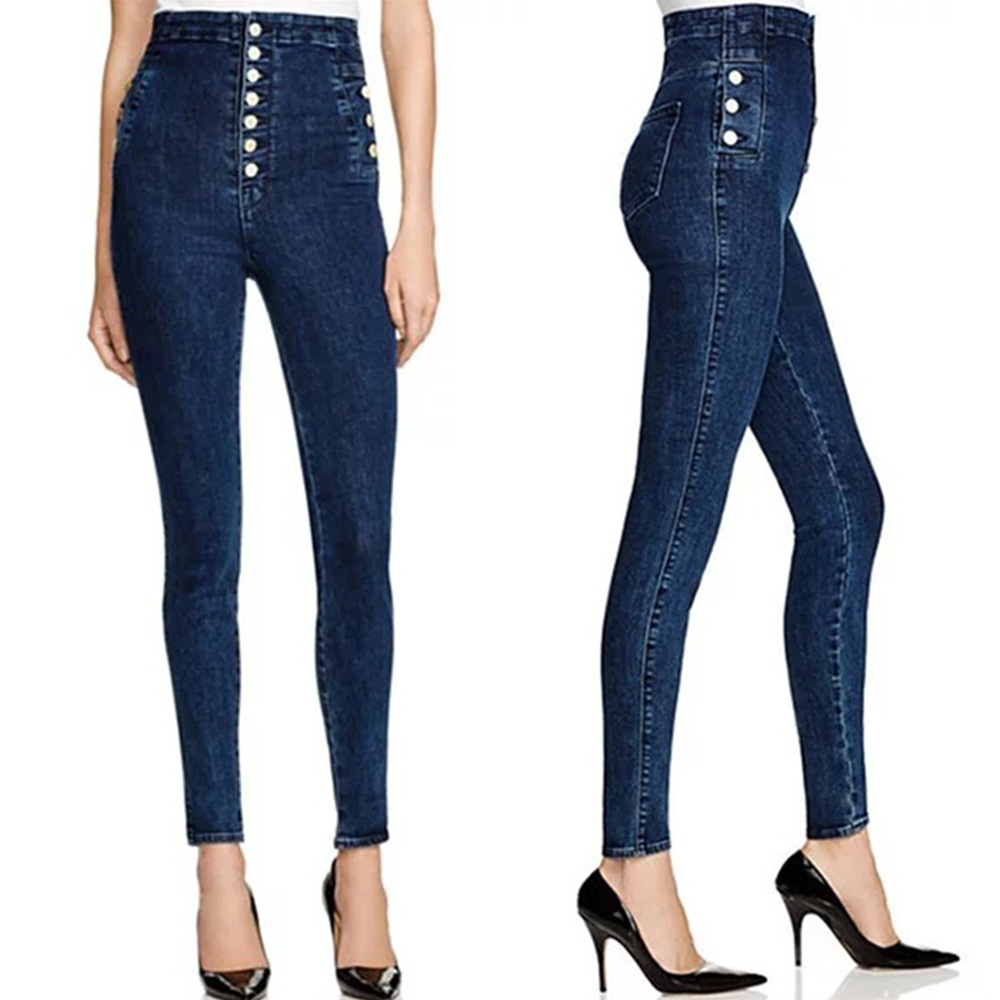 HUAHEJING Синий цвет Номер XL missufe high waist skinny dark blue jeans women chic back long zipper elastic stretch pencil pants