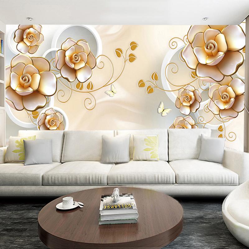 Colomac Смешанный цвет пользовательские обои с настенной росписью 3d lotus flower европейский стиль искусство настенной живописи гостиная tv background mural papel de parede 3d