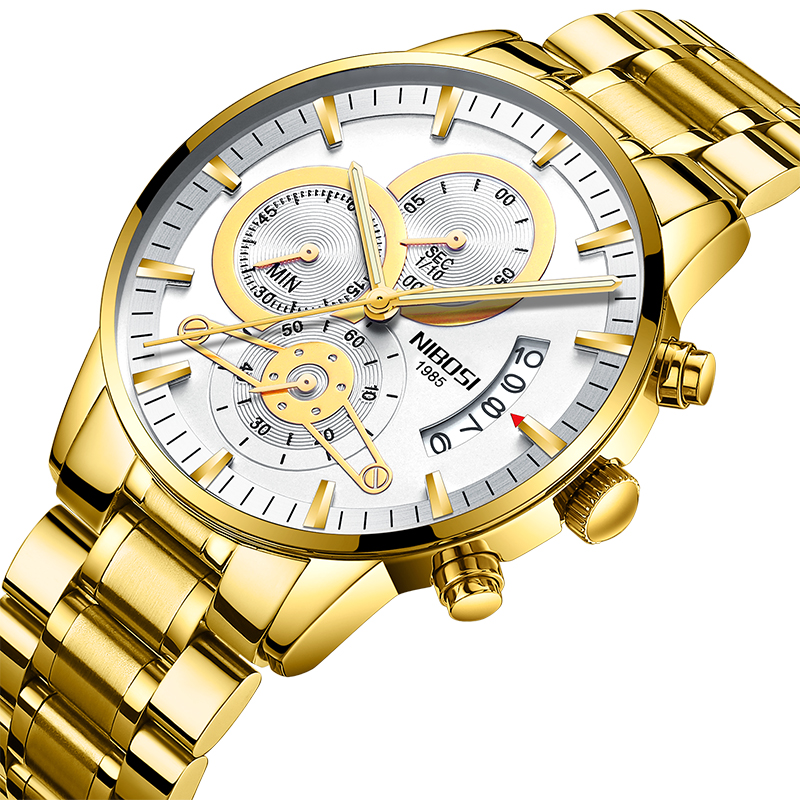 Модные деловые платья повседневные часы для мужчин кварцевые наручные часы мужские NIBOSI Белый циферблат с золотым стальным ремнем фото