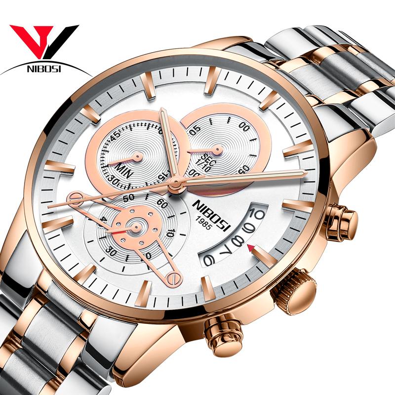 NIBOSI белая стальная лента dom mens watches top brand luxury waterproof quartz business leather watch reloj hombre marca de lujo men watch m 41