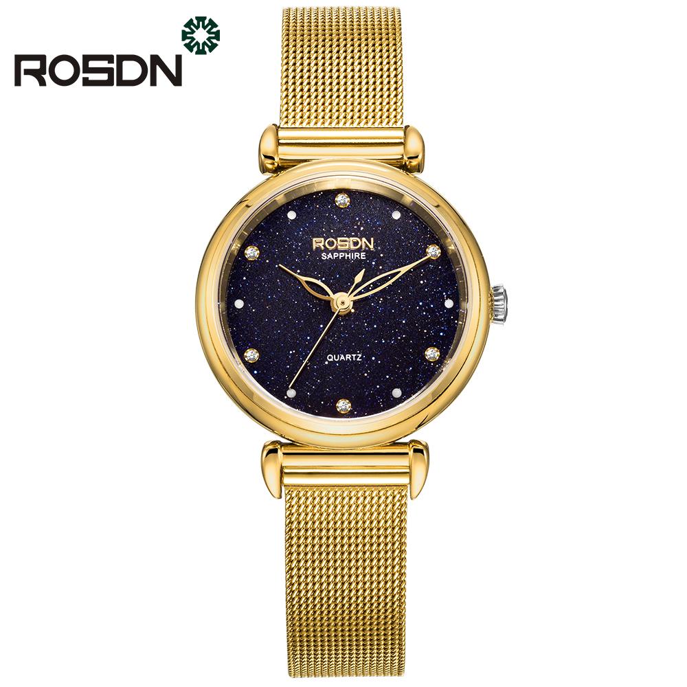 ROSDN Золото роскошные золотые часы женские кварцевые стальные наручные часы повседневные женские наручные часы женские часы