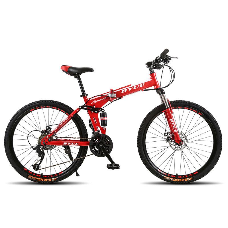 BYUEBIKE красный спицы колеса 21 скорость behee 26 дюймы 21 скорость складной горный велосипед средняя ось двойной дисковый тормоз