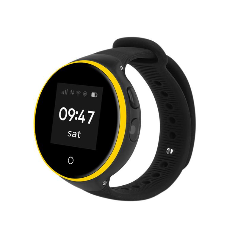 HOYAT Black children smart watch ds18 gpm gps wifi locator tracker kids wristwatch waterproof sos call smartwatch child for ios android f19