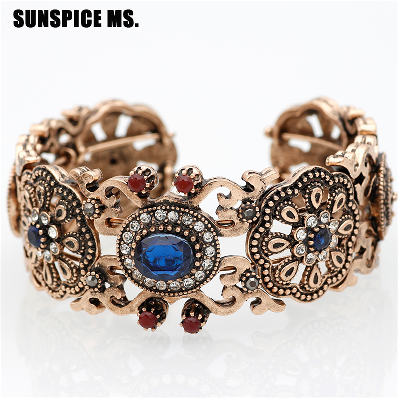 SUNSPICE MS Blue vintage frosted grid hollow out cuff bracelet for women
