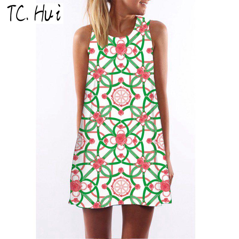 Summer Spaghetti Strap Tank chiffon Платье летнее платье майка Женское платье без рукавов Сексуальная пляжная одежда сексуальная Модная флуоресцентная цветочная композиция TCHui L фото
