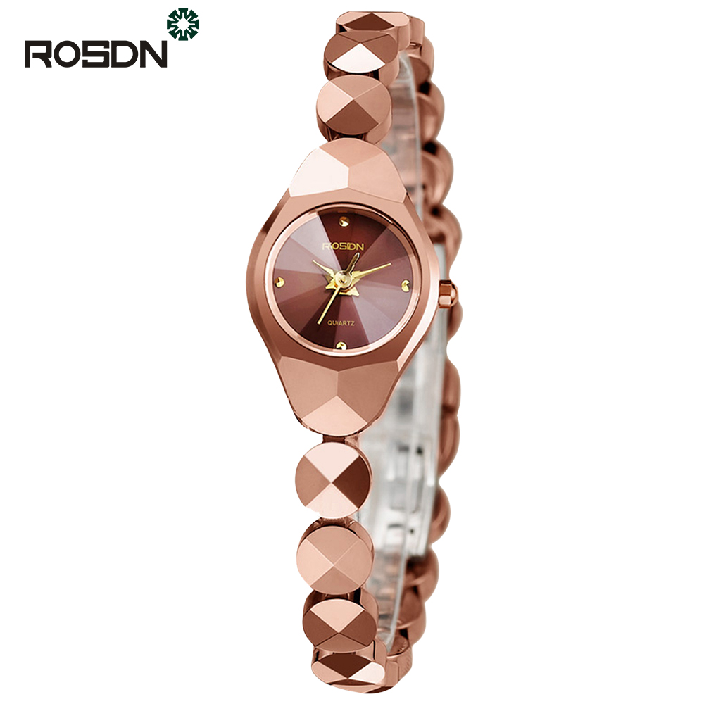 ROSDN Розовой золотой цвет fashion women watch gold stainless steel quartz watches crystal women dress watches wristwatch for ladies clock relojes 2016