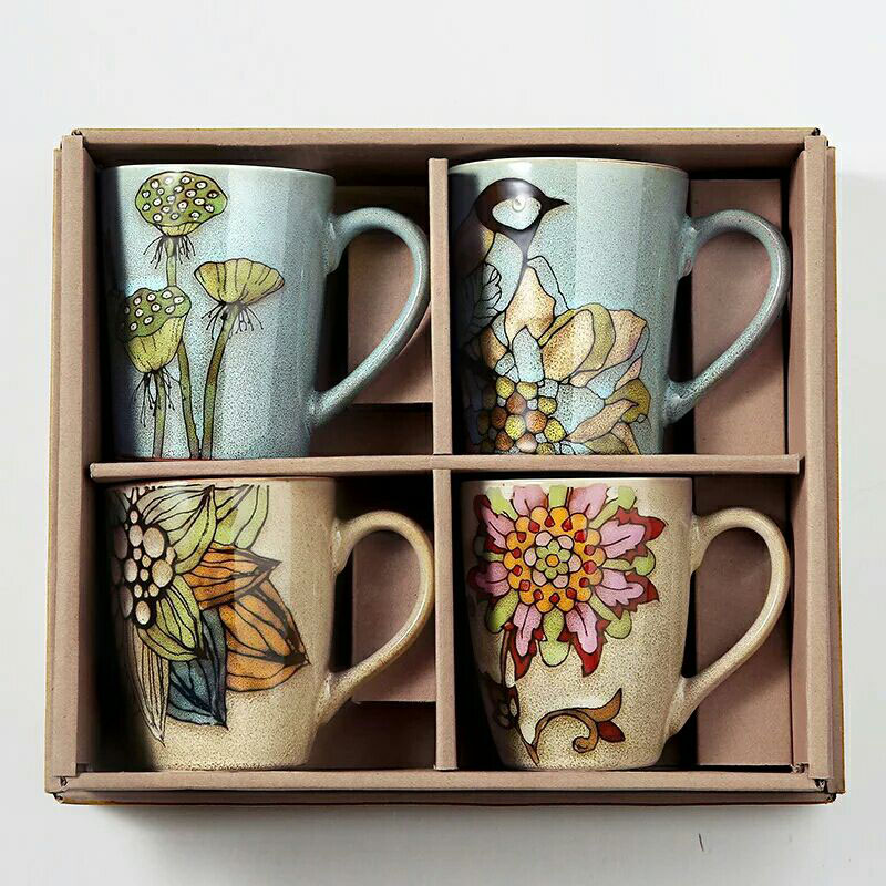 c ircelee Полуночно-синий Керамический материал рисованные креативные кружки для кофе чашка для чая чашка для завтрака керамическая чашка для молока комплект из 4