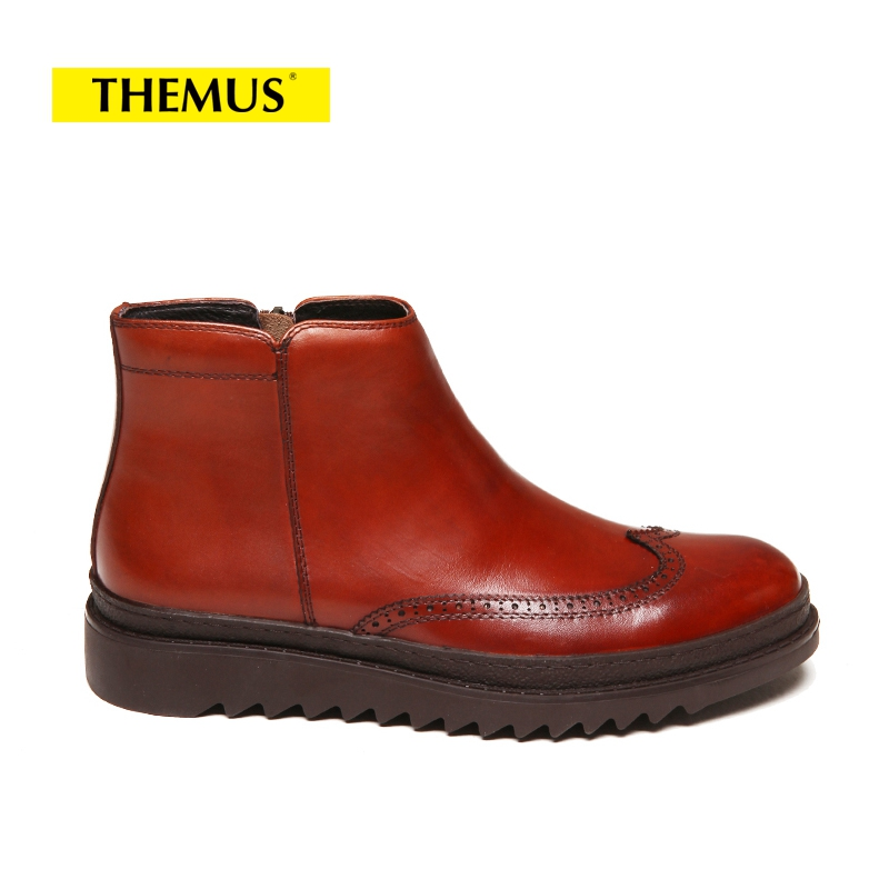 THEMUS Brown CHINA 38 large size eur45 brown black pointed toe serpentine chelsea boots mens ankle boots genuine leather boots mens dress shoes