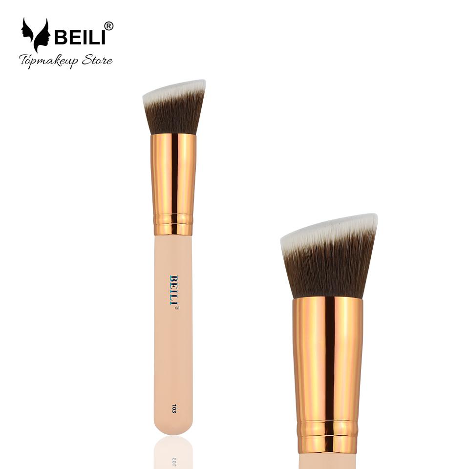 Чёрный цвет и золотой цвет beili single 104 flat kabuki single synthetic hair face для умывальника румяна черная макияжная кисть