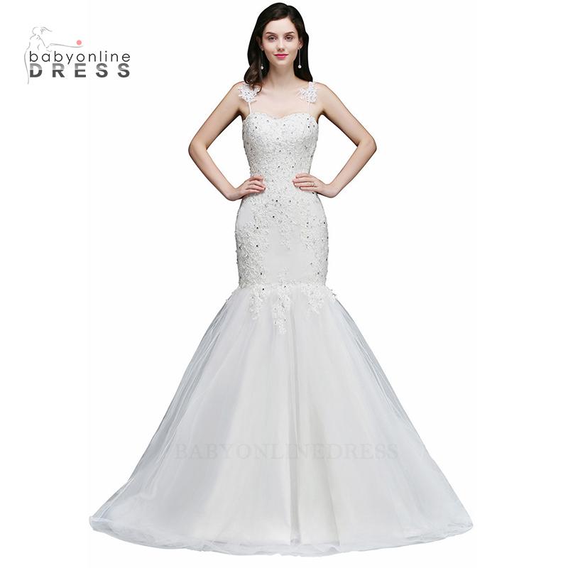 Babyonlineress Applique Long Mermaid Wedding Dress 2018 Sleeveless Sheer Back малыш платье слоновая кость США 12 Великобритания 16 ЕС 42 фото