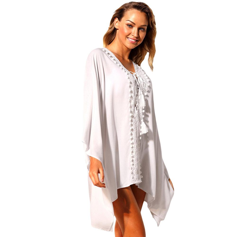 HeLenRed белый Свободный размер white crochet trim shoulder tie with tassel camis