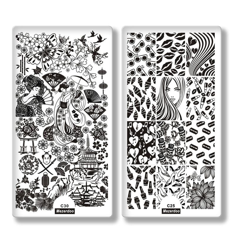 штамповка цветы лист шаблон для ногтей штамповка бабочка изображение штамповка печать nail art templates diy manicure stamp tools 12 6cm