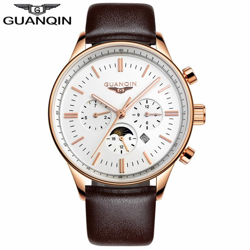 GUANQIN коричневый золото белый мужские часы michel herbelin 12466 14 sm