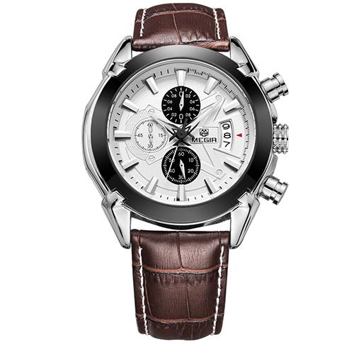 MEGIR Белый кварцевые часы reichenbach часы элитные