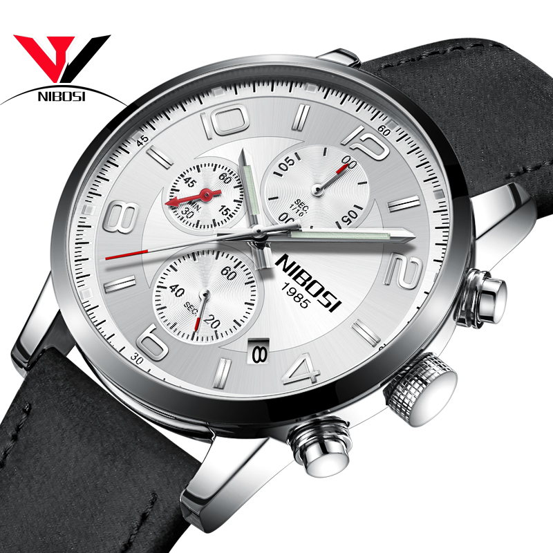 Кварцевые наручные часы моды топ бренда роскошные часы NIBOSI Мужские наручные часы белого пояса фото