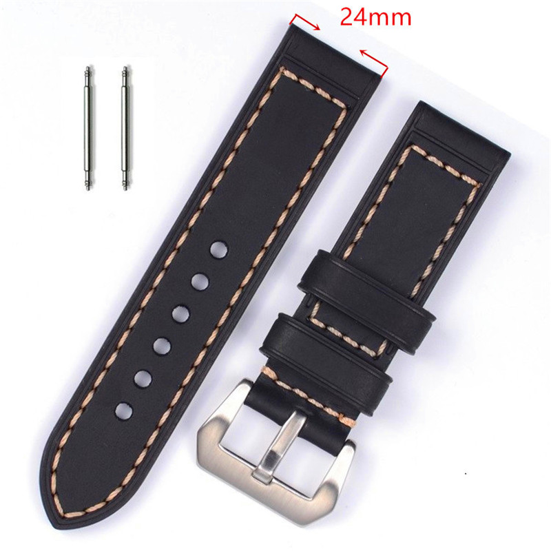 XIUMEI 24mm top layer genuine leather watchband 22 23 24mm for couturier t035 replacement watch band steel butterfly clasp wrist strap black