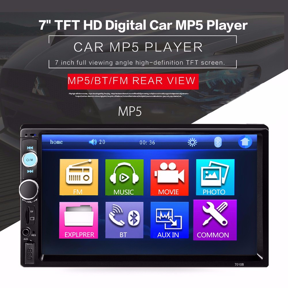 Black 2015 new support rear camera car stereo mp3 mp4 player 12v car audio video mp5 bluetooth hands free usb tft mmc remote control