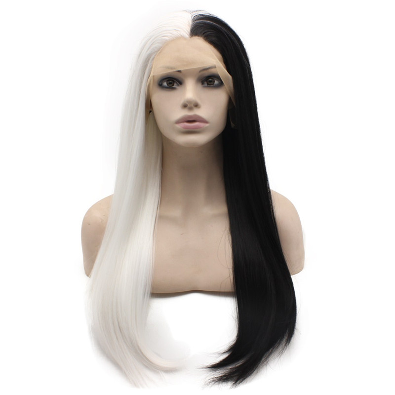 half white black wig 2016 good sale half wigs black silk straight synthetic lace front wig african american gluelsee wigs for black women on slae