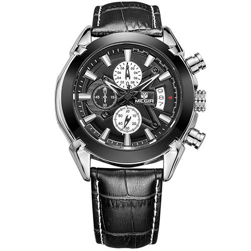 MEGIR Черный кварцевые часы reichenbach часы элитные