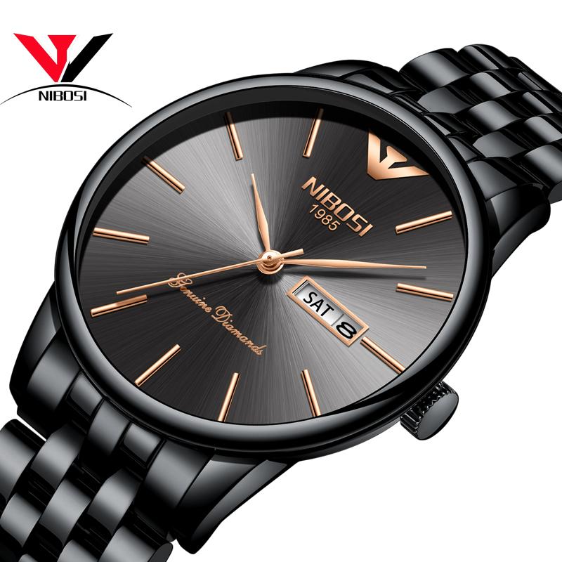 NIBOSI черный brown leather strap men quartz watch mens watches top brand luxury erkek kol saati horloge montre homme clock megir hodinky b190