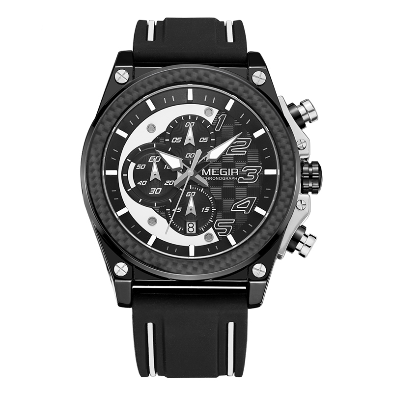 MEGIR Черный weide casual genuine men watches luxury brand watch quartz analog men sport leather watches waterproof schocker clock army watch