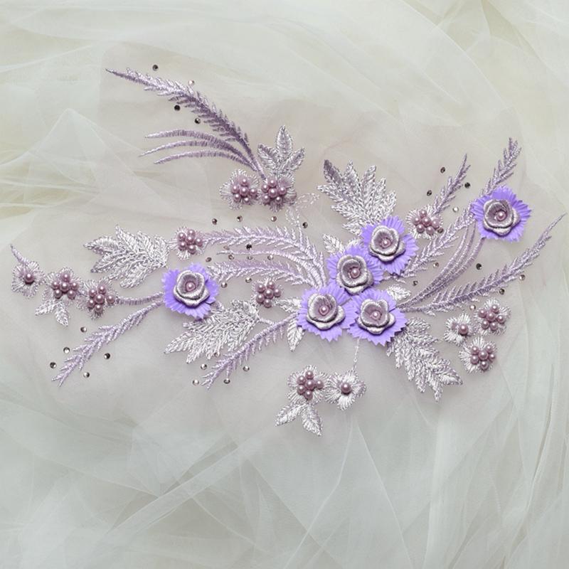 Zbroh Светло-фиолетовый обрезка буквенных патчей многоцветная вышивка кружева аппликация diy аксессуар