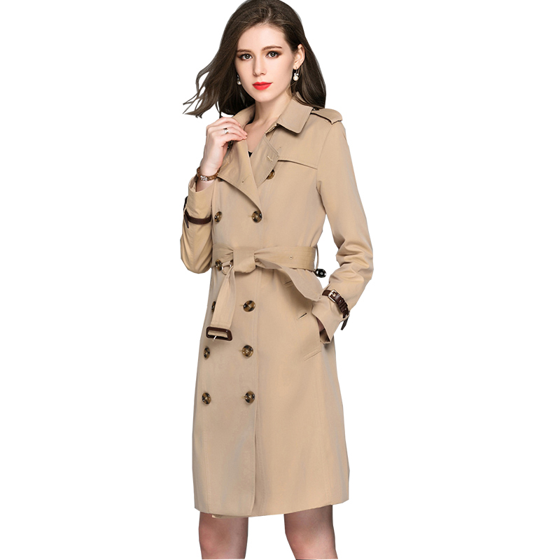 BURDULLY рыжеватый XL BURDULLY Double Breasted Long Trench Coat Para As Mulheres 2018 Большой размер