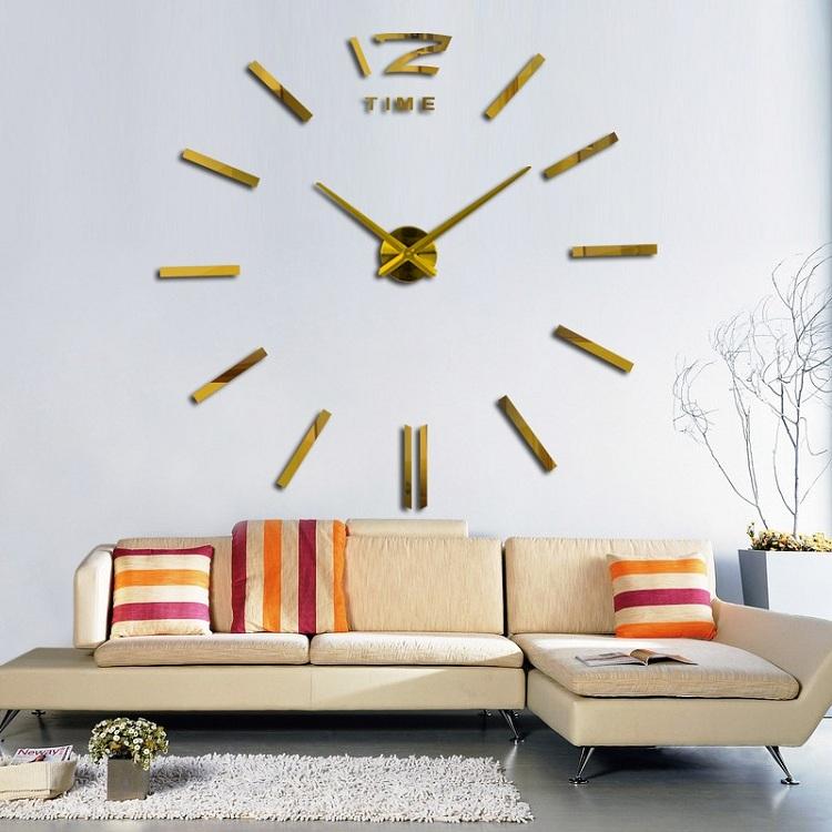 Большие настенные часы бескаркасные настенные часы настенные часы спальня suwumu Золотой цвет фото
