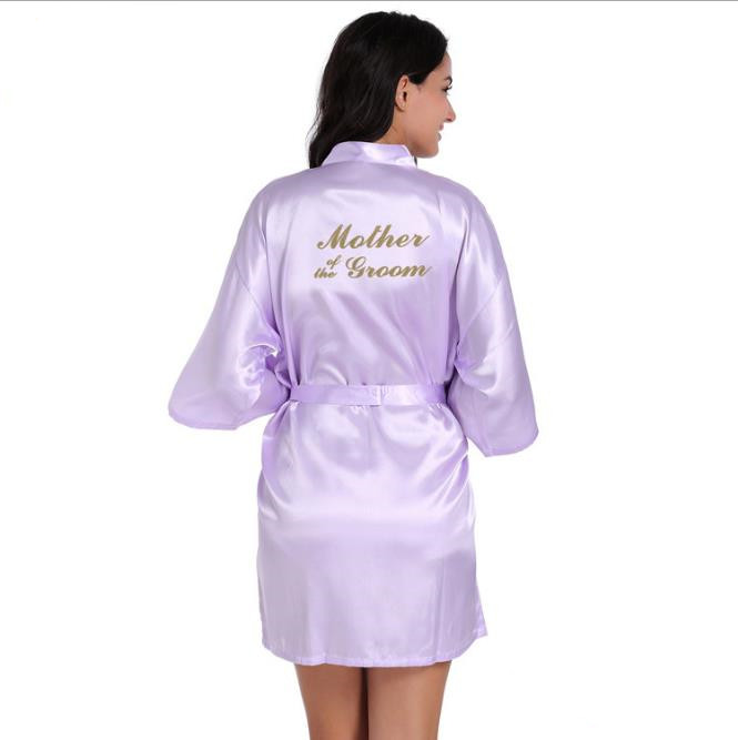 Рубашка Свадебный шелковый атлас Халат Халат Халат Новый oye Светло-фиолетовый S фото