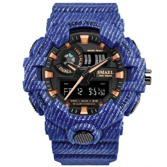 Мужчина часы кварцевые часы smael ковбой-синий фото