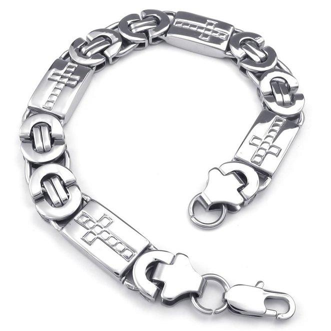Hpolw hpolw мужская серебро нержавеющая сталь застежками омаров браслет и готический череп скелет креста шарм байкер ссылку хип хоп браслеты