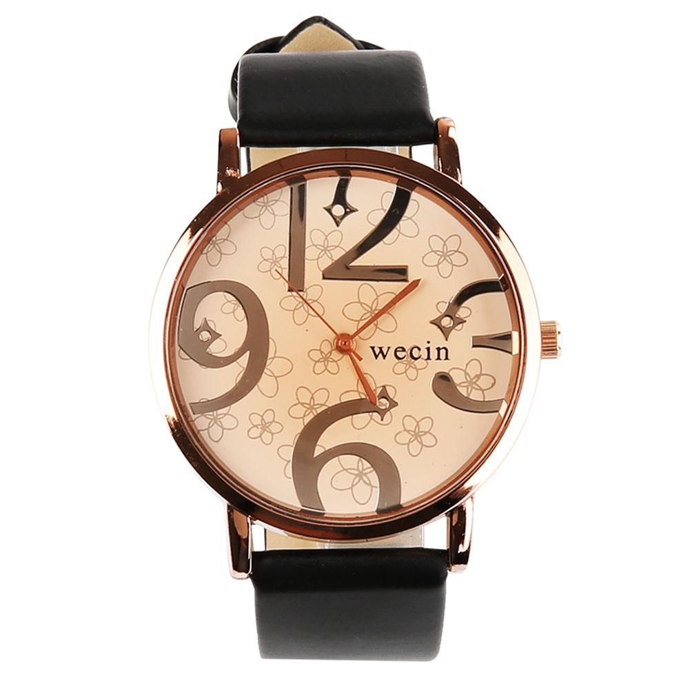 Кварцевые наручные часы Кожаный ремешок Женские часы CANIS Черный фото